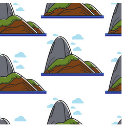 sugar loaf mountain and sea seamless pattern vector image