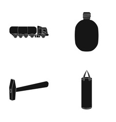 Truck flask and other web icon in black style vector
