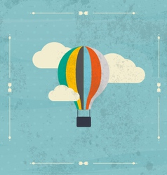 Vintage hot air balloon in the sky vector
