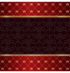Vintage luxury red damask background with frame of vector image