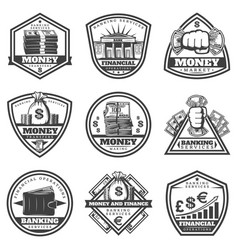 Vintage monochrome money labels set vector