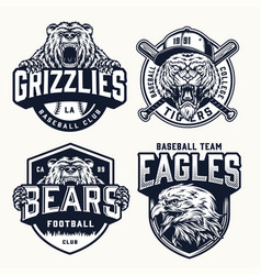 Vintage soccer and baseball clubs logos vector