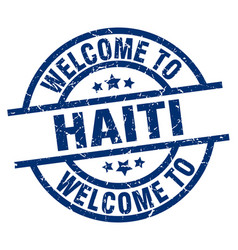 Welcome to haiti blue stamp vector