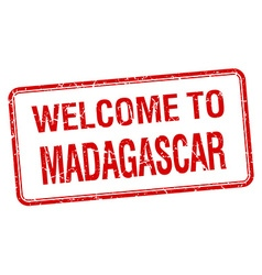 Welcome to Madagascar red grunge square stamp vector