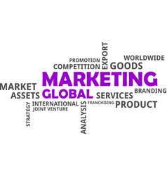 word cloud - global marketing vector image