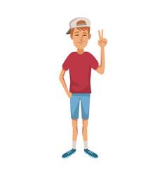 young guy standing waving hand cheerful cartoon vector image