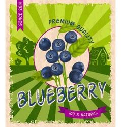 Blueberry retro poster vector image