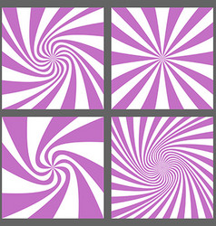 Retro spiral ray and starburst background set vector