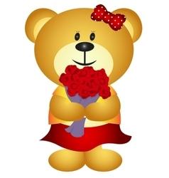Cute Cartoon GIrl Bear Bring Bouquet of flower vector image