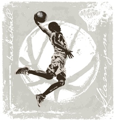 slam jam basket ball vector image
