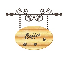 Wooden sign with coffee bean floral forging vector image