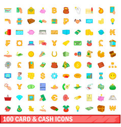 100 card and cash icons set cartoon style vector image vector image