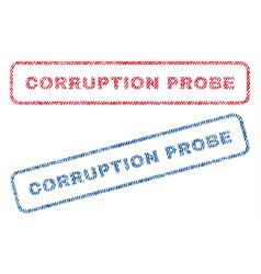 corruption probe textile stamps vector image vector image