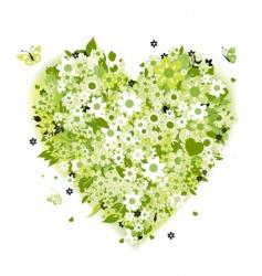 floral heart shape summer green vector image vector image