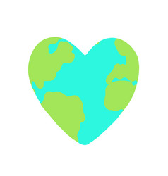 heart shaped planet earth vector image vector image