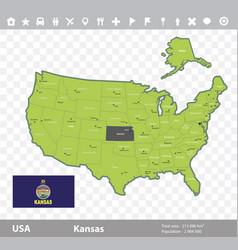 kansas flag and map vector image vector image