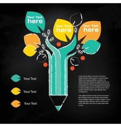 Pencil tree info graphic about education and vector image vector image