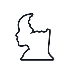 silhouette head female bubble speech line vector image