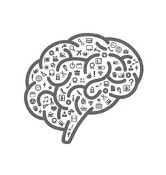 silhouette of the brain with icons vector image