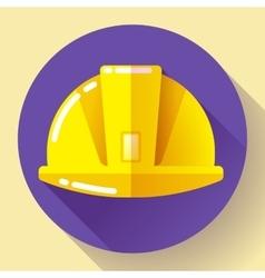 Yellow construction worker helmet icon Flat vector image