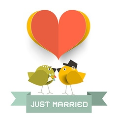 Just Married Card with Paper Cut Heard and Love vector image vector image