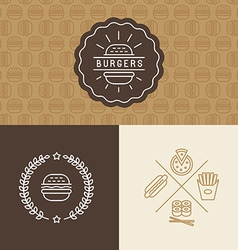 set of burger package design elements vector image vector image