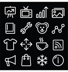 Web white navigation line icons set vector image vector image