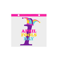 1 april fools day jester hat and calendar vector image