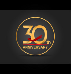 30 anniversary design golden color with ring vector