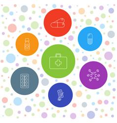 7 aspirin icons vector image