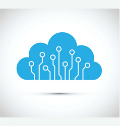 abstract cloud computer chip icon vector image
