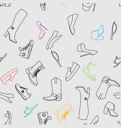 abstract object of woman footwear seamless pattern vector image