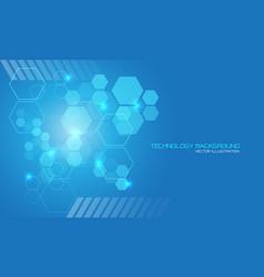Abstract technology blue hexagon geometric light vector