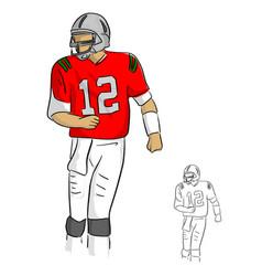 american football player number twelve in red vector image
