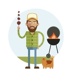 Barbecue and man with cat vector