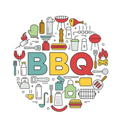 Barbecue icons in circle icon line style vector
