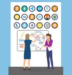 bitcoin currencies and presentation woman vector image