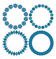 Blue moroccan circle frames vector