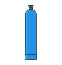 Blue oxygen gas tank flat line vector