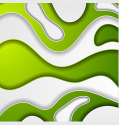 bright green papercut waves abstract background vector image