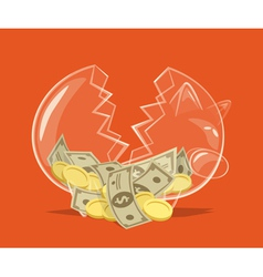 Broken glass piggy bank vector