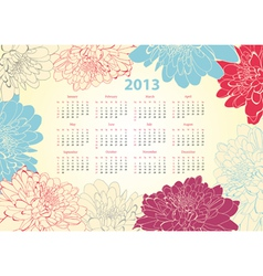 Calendar for 2013 with flowers vector image vector image