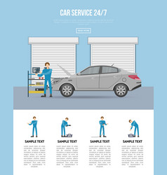 Car diagnostics and repair services 24h poster vector