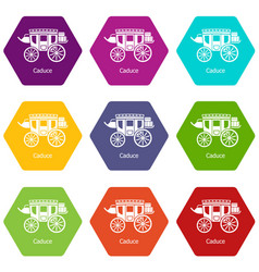 Carriage icons set 9 vector