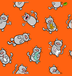 cartoon pattern with cats vector image