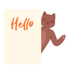 Cat hello banner kitten character peeking vector