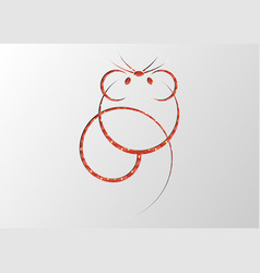 chinese zodiac sign year rat red paper cut icon vector image