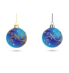 Christmas balls decoration with silver and gold vector image