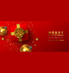 christmas new year gold red 3d holiday decoration vector image