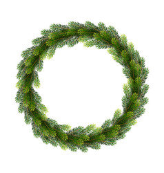 christmas wreath from fir tree branches vector image